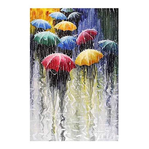 YSNMM Mensen Met Paraplu's In Regenachtige Dagen Diamant Schilderen Olie Ronde Volledige Boor Diy Mozaïek Borduurwerk 5D Cross Stitch Geschenken