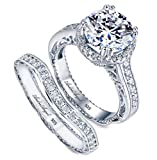 Engagement Ring Set Wedding 100% Solid Sterling Silver 925 Rhodium Plating Cubic Zirconia Stones AAAAA+ Alternative to Diamonds 2.5 Carats Anniversary Marriage Bridal Promise Design Valentine (8)