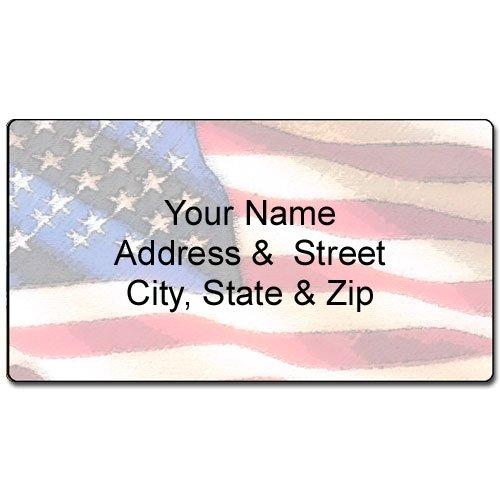 American Flag Address Label - Customized Return Address Label - 90 Labels