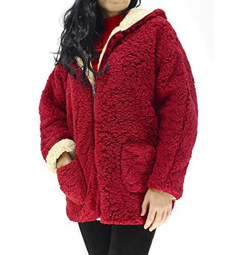 boquita de piñon Chaqueta Borrego Mujer Reversible Invierno Borreguito con Cremallera Abrigo (Rojo)