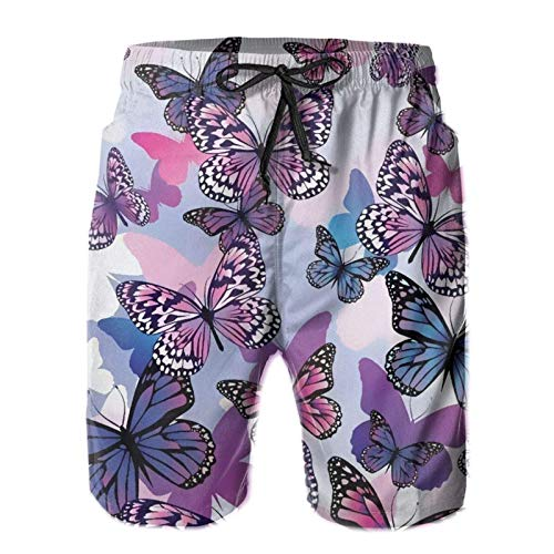 QUEMIN Mens Swim Trunks Purple Butterfly 2 Men's Summer Beach Shorts, Quick Dry Athletic Trunks (Size M)