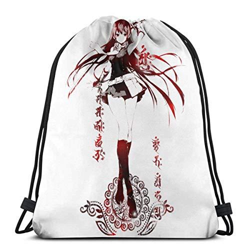 ANGSHI6 Anime Akame Ga Kill Bolsas de Cuerdas Mochila Deportiva clásica Unisex Bolsa de Viaje Bolsa de Almacenamiento