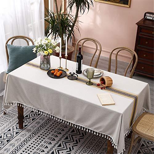 Rectangular Poliéster Hogar Hotel Sala De Estar Cocina Mantel Bordado Tridimensional Borla Mantel Camino De Mesa Mantel De Café Mantel Redondo 140x260cm