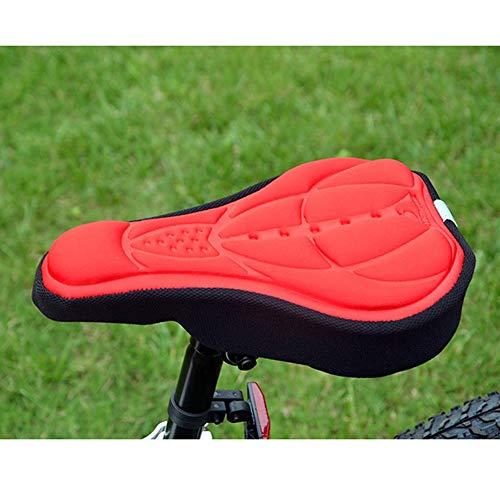 Frieed 3D de Gel de Silicona del cojín del Asiento de una Silla Suave de la Cubierta del Amortiguador Bici de la Bicicleta Cubierta Cubierta de una Silla Durable (Color : Red)