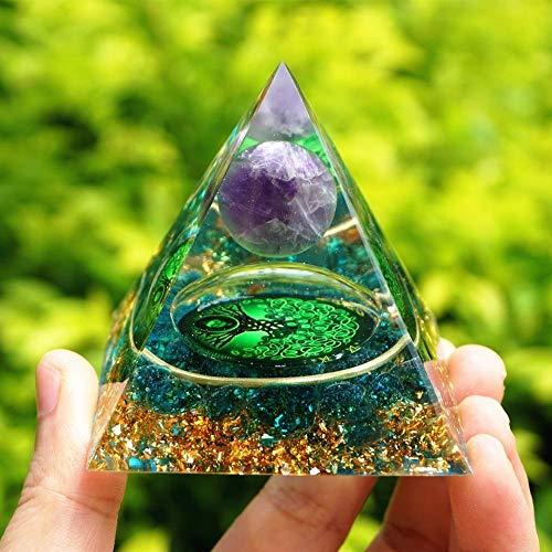 GZSC Bergkristall Pyramide Handgemachte Baum des Lebens Orgon Pyramide Amethyst Kristallbereich mit blauem Quarz-Schutz Orgonit (Size : 60mm)