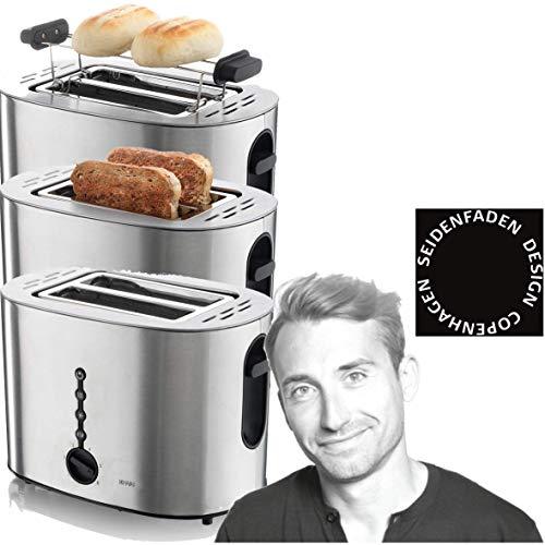 KHAPP 15140004 Toaster, Seidenfaden Designer, Doppelschlitz,  Toaster mit Brötchenaufsatz, 850 Watt, 6 Bräunungsstufen
