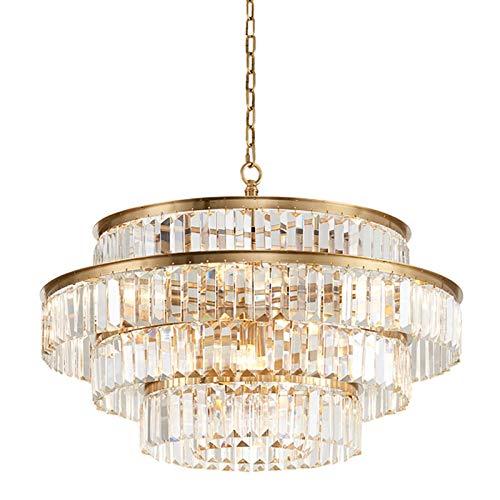 Cristal Lujoso Lámparas De Araña,Blanco Moderno Lampara Colgante E14 Altura Ajustable Semi Flush Lámpara De Techo Para Sala De Estar Comedor-Dorado 80cm
