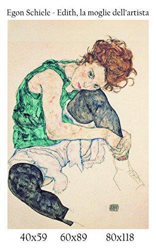 Afdruk op canvas, 100% Italiaanse kwaliteit, Egon Rail – edith, de vrouw van de kunstenaar in schilderij-look, cadeau-idee voor woonkamer, keuken, slaapkamer, woonkamer