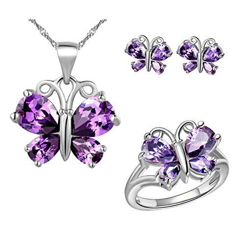 Uloveido Mujeres platino plateado cristal púrpura amor mariposa colgante collar promesa anillo y aretes pendientes conjunto de joyas para niños niñas regalo de cumpleaños T235