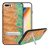 HHDY Funda de Madera para iPhone 7 Plus/iPhone 8 Plus, Carcasa Kickstand con Soporte de Metal, Case Cover Madera Real+TPU Bumper Caso Funda para iPhone 7 Plus/iPhone 8 Plus, Rainforest