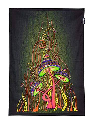 PSYWORK Schwarzlicht Stoffposter Neon Magic Mushroom Pink, 0,5x0,7m