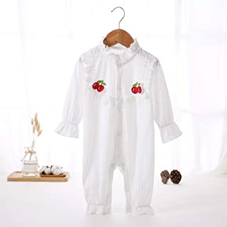 Solid Color Baby Girl Long-Sleeved Bodysuit High Quality (Color : White, Size : 59)