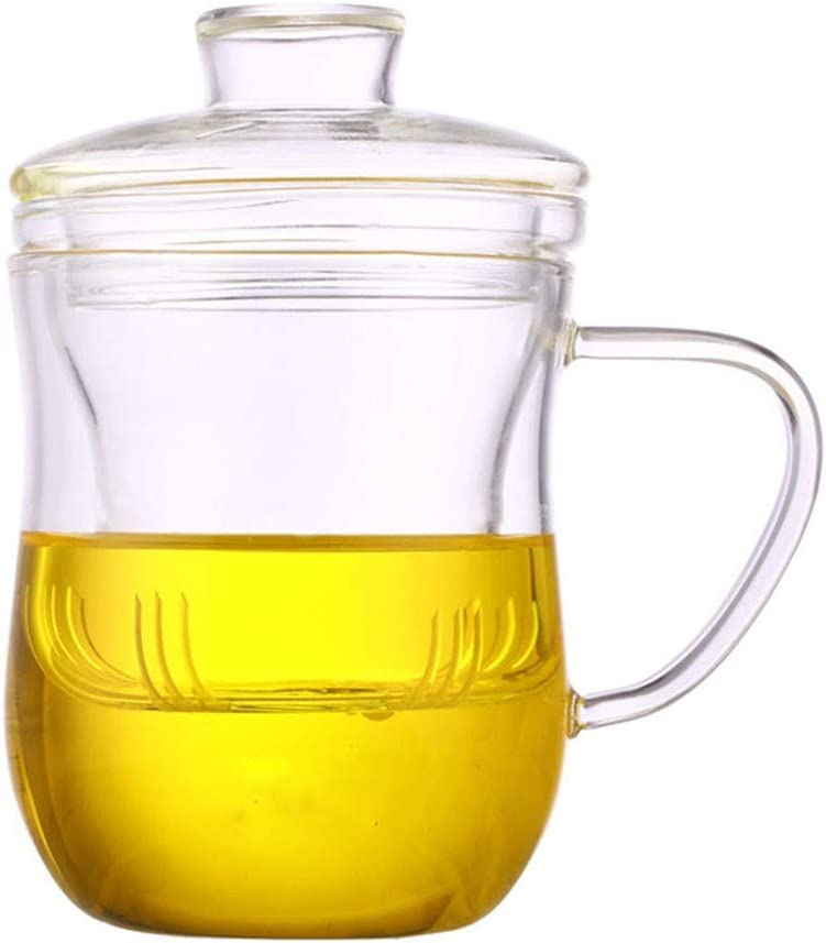 Glass Tea Cup with Inventory cleanup Raleigh Mall selling sale Infuser Mug 12oz and 350ml Lid