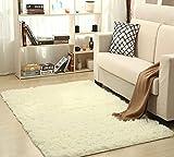 Alfombra suave y contemporánea para el suelo, alfombra de salón de comedor, alfombra antideslizante, alfombra para dormitorio, 160 x 120 cm blanco blanco crema