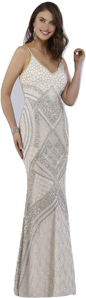 DRESS EARTH - Lara 51015 - Beaded White Long Dress