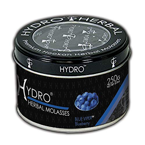 Hydro Herbal, Hookah Shisha Flavor, 250g Can, Tobacco Free, Nicotine Free [Blue Viper - Blueberry]