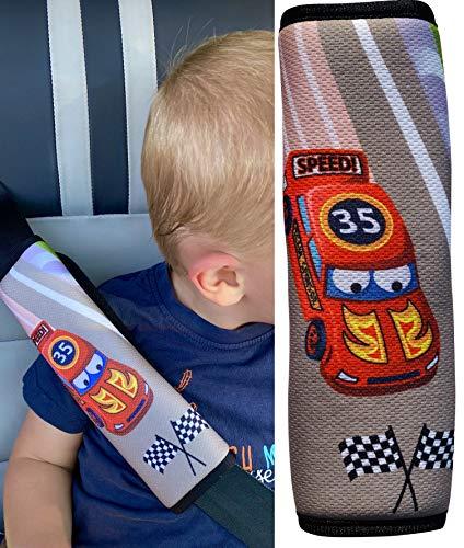 1x protector de cinturón de seguridad HECKBO® con dibujos de coches de carreras de Fórmula 1: cinturón de seguridad, almohadilla para el hombro, cojín para el hombro, funda de cinturón