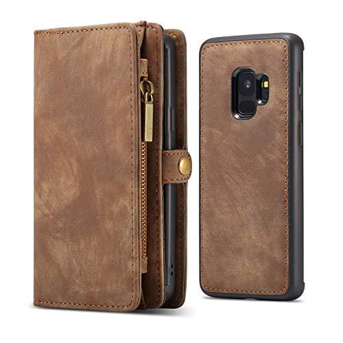 KelaSip Galaxy S9 Hülle, Galaxy S9 Leder Handyhülle, Geldbörse Case mit 11 Kartenfächer, Abnehmbarer Schutzhülle mit Weichem TPU, Brieftasche Tasche für Galaxy S9 5,8 Zoll, (Braun)