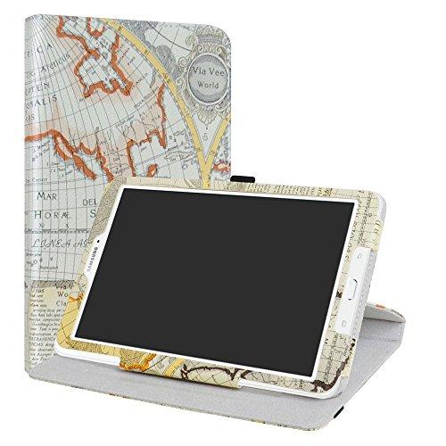 """Samsung Galaxy Tab E 9.6 rotante Custodia,LiuShan 360 gradi di rotazione custodia in Pelle PU con supporto caso per Samsung Galaxy Tab E 9.6"""" SM-T560 / SM-T561 Android Tablet,Map White"""