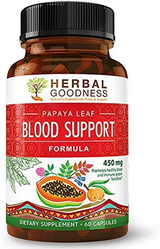 Papaya Leaf Blood Support Formula - Blood Platelet, Bone Marrow, Immunity Support - Blood Cleanse and Detox - Super Food Health - Herbal Remedy - 60/450mg Veggie Capsules - Made in USA by Herbal Goodness