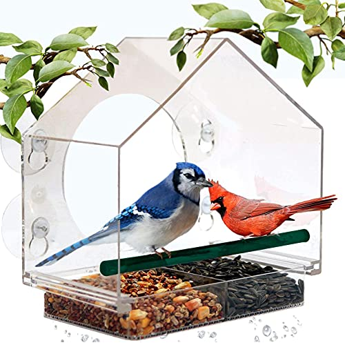 Mrcrafts Window Bird Feeder for Outside with Strong Suction Cups, Fits for Cardinals, Finches, Chickadees etc.
