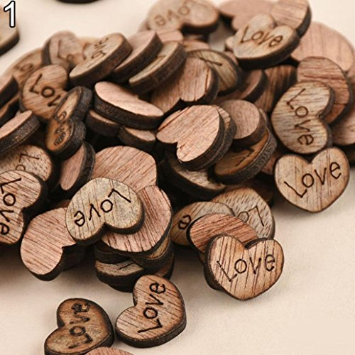 Rustic Wooden 100pcs Wood Love Heart Stars Wedding Table Scatter Decoration Crafts