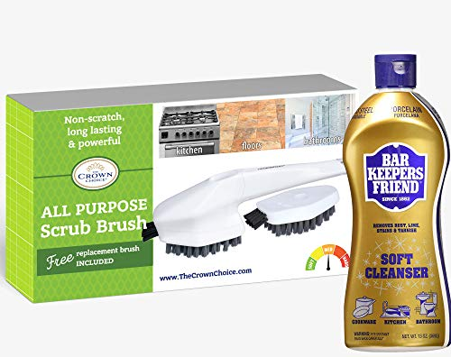 BAR KEEPERS FRIEND Soft Cleanser Liquid (13 OZ) and All Purpose Scrub Brush with Free Cleaning Head | Non-Scratch Scrubbing Brushes Set | Bathroom, Tiles, Kitchen, Carpet Scrubber