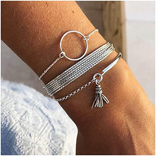 Sttiafay Boho - Pulseras apilables de plata para mujer, múltiples capas, amuletos de borla para mujeres y niñas (3 unidades)