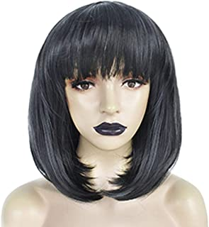 Anogol Hair Cap+Black Short Bob Wig for Women Straight Wigs for Black Women Black Wig Cosplay Costume