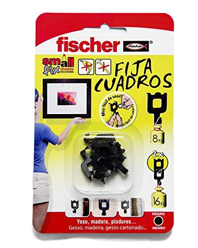 fischer 518168 Fijacuadros Negro, Pared, Colgar Fotos, Fija Cuadros sin Agujeros, Blíster de 8 Uds