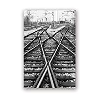 """Canvas Picture Rail Tracks Railway Black White Poster And Prints Artwork Wall Art Living Room Bedroom Home Decor 19.6"""" x27.5""""(50x70cm)フレームレス"""