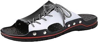 Pantoufles pour Hommes, Sandales d'été et Pantoufles pour Hommes, élégantes Chaussures en Cuir Bicolore, Confortables et R...