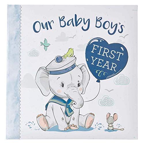 Christian Art Gifts Boy Baby Book of Memories Blue Keepsake Photo Album | Our Baby Boy's First Year Memory Book | Baby Book with Bible Verses