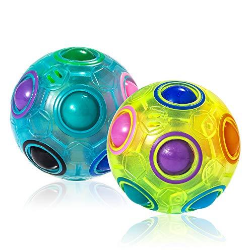ROXENDA Regenbogenball mit 11 Kugeln, Puzzle Zauberball Rainbow Balls Geschicklichkeitsspiel [2 Pack]- Brain Teaser & Stress Ball für Kinder und Erwachsene (Blau & Grün)