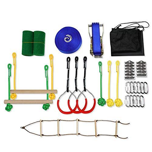 Best Price Kindlyperson Ninja Line Backyard Obstacle Training Course, 7PCS Set Slackline Hanging Obstacle Training Equipment for Backyard Outdoors, Portable Training Equipment Gift Set for Kids