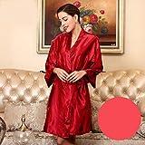 YRTHOR Albornoz Kimono de satén de Seda para Mujer, Bata de baño sólida de Dama de Honor hasta la Rodilla, Bata de Novia de Talla Grande para Ropa de Dormir de Boda,Deep Red,M