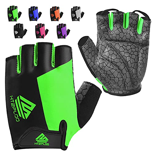 HTZPLOO Bike Gloves Cycling Gloves Biking Gloves for Men Women with Anti-Slip Shock-Absorbing Pad,Light Weight,Nice Fit,Half Finger Bicycle Gloves (Green,Large)