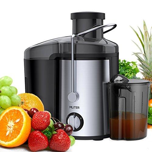 Entsafter für Obst und Gemüse Juicer aus Edelstahl MLITER Zentrifugaler Entsafter 65 mm Breite Einfüllöffnung 2 Geschwindigkeiten mit 450ml Saftbehälter und 1500ml Fruchtfleischbehälter
