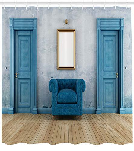 Espejo sillón Dos Puertas Impresión HD, Cortina de Ducha Impermeable para baño, 12 Ganchos Gratis, 180x180cm