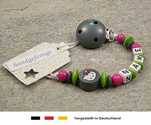 Baby SCHNULLERKETTE mit Namen - Schnullerhalter mit Wunschnamen - Mädchen Motiv Hello Kitty in grau, grün
