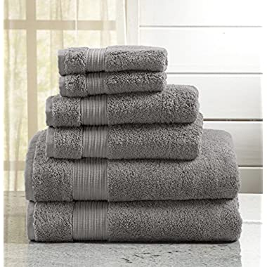 6-Piece Luxury Hotel / Spa 100% Turkish Cotton Towel Set, 600 GSM. Includes Bath Towels, Hand Towels and Washcloths. Grace Collection By Great Bay Home Brand. (Drizzle Grey)