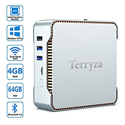 AK3 Mini PC with Windows 10 Pro & Intel Celeron N3350(Up to 2.4GHz),4GB DDR3 & 64GB eMMC Micro Desktop Computer Support 2.4G/5G Dual WiFi, 4K HD, HDMI/VGA Ports