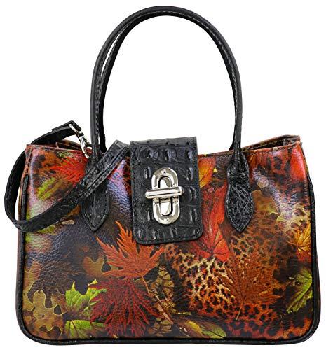 SH Leder Damen Handtasche kleine Tasche Tragetasche Henkeltasche mit Leo und Folie Print Krokoprägung aus Rindleder 25x16cm Ida G381 (Schwarz)