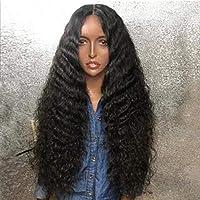ヘアピースふわふわ水波巻き毛レースフロントウィッグ耐熱繊維人工毛髪用ブラックデイリーコスプレハロウィンパーティー20in16in