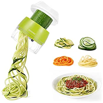 Handheld Spiralizer Vegetable Slicer Adoric 4 in 1 Heavy Duty Veggie Spiral Cutter - Zoodle Pasta Spaghetti Maker for Low Carb/Paleo/Gluten-Free Meals