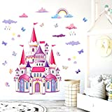 Pegatinas de Pared Arco Iris Castillo Vinilos Decorativos,Niña Hada Castillo Adhesivos,Vinilos Decorativos Infantiles,perfectas para decoración de Niña habitación