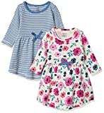 Touched by Nature Girls, Toddler, Baby and Womens Organic Cotton Short-Sleeve and Long-Sleeve Dresses, Garden Floral Long Sleeve, 0-3 Months