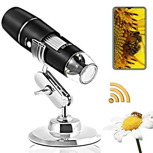 Wireless Digital Microscope Handheld,1080P HD WiFi USB Microscope, 1000X Magnification, Built in 8 LED Lights,Portable Microscope for iPhone/Ipad/Android.