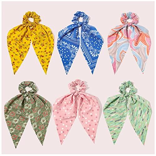 Scrunchies con estampado floral Dot Tie Dye estampado mujeres cinta larga cola de caballo bufanda para el cabello verano sombreros para accesorios para el cabello 6 uds