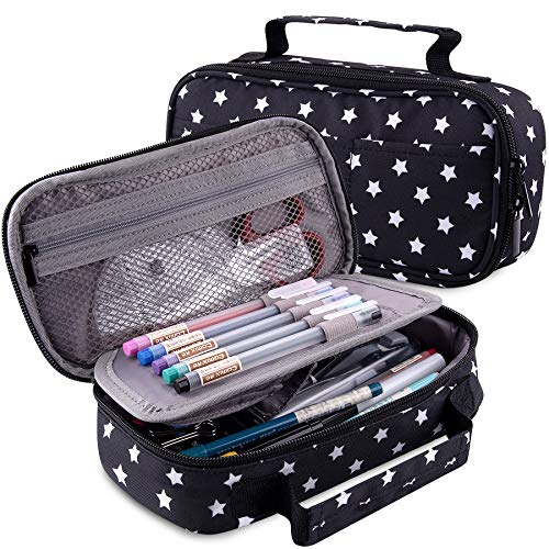 SIQUK Pencil Case Big Capacity Pencil Pouch Black with White Stars Pencil Bag with Handle Office Stationery Bag Cosmetic Bag with Compartments for Girls Boys and Adults